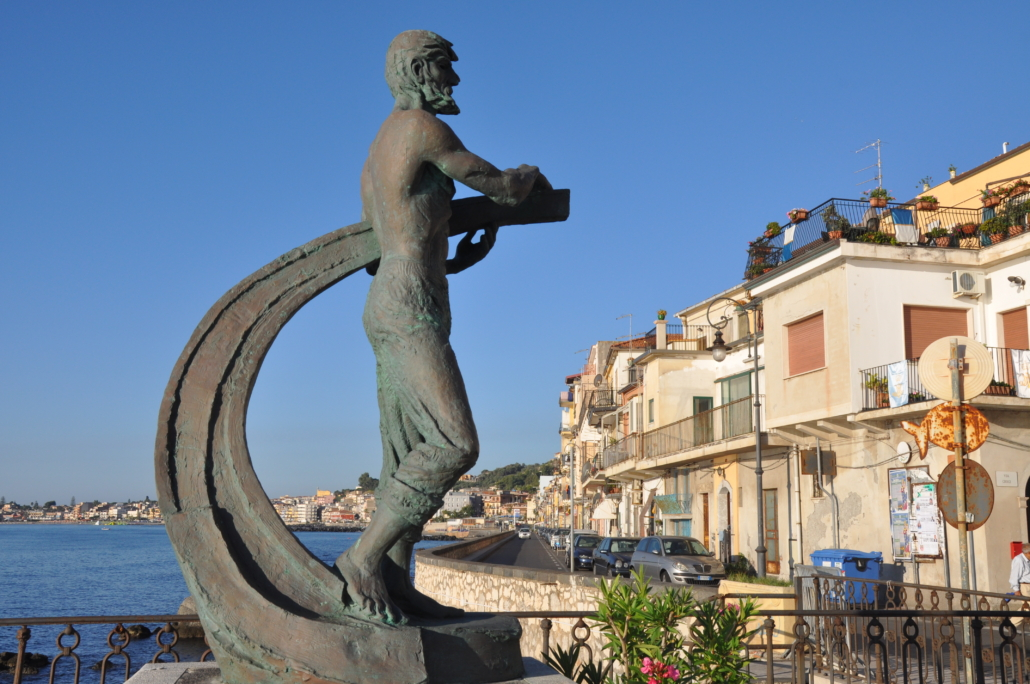 Modern sculpture of Theokles, the historic oikist who founded ancient Naxos, in Giardini Naxos, Sicily.