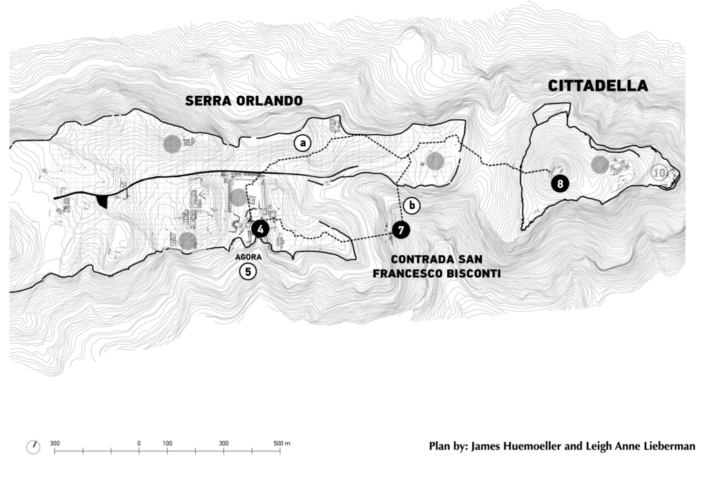 A plan of the sanctuaries in use at Morgantina immediately following the refoundation of the settlement in the mid-5th c. B.C.E., featuring the projected processional paths from Serra Orlando to Cittadella.